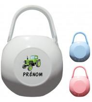 Boîte à tétine personnalisée Tracteur Prénom