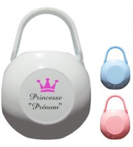 Boîte à tétine personnalisée Princesse Prénom