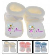 Chaussons bébé Fée baguette prénom personnalisés
