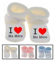 Chaussons bébé I love ma mère