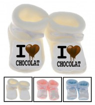 Chaussons bébé I love chocolat