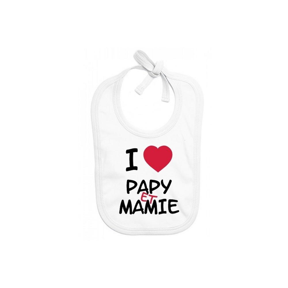 Bavoir bébé I love papy et mamie