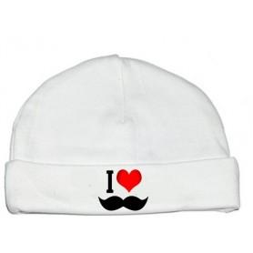 Bonnet bébé I love moustache