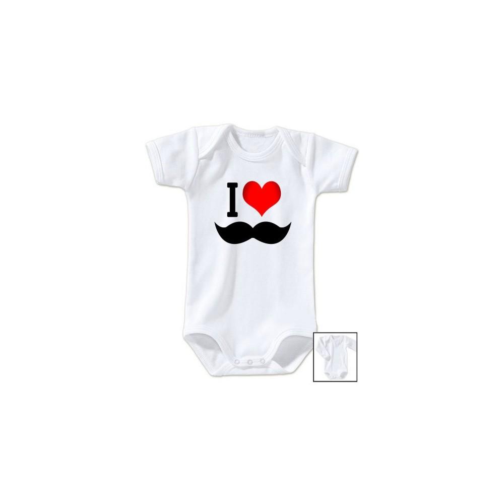 Body bébé I love moustache