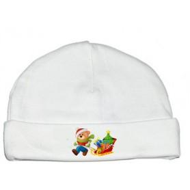 Bonnet bébé Ours traineau Noël