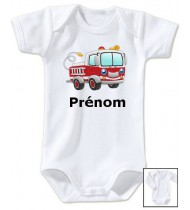 Body personnalisé camion pompier prénom