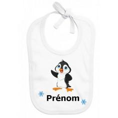 Bavoir personnalisé pingouin prénom