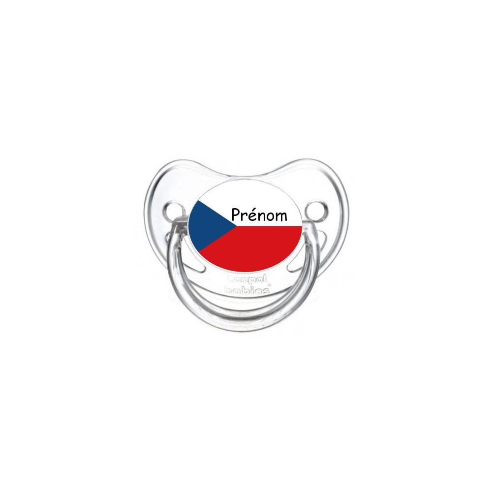Tétine personnalisée drapeau République tchèque et prénom