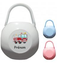 Boîte à tétine personnalisée Camion pompier Prénom