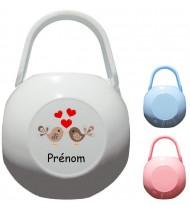 Boîte à tétine personnalisée Oiseaux coeurs Prénom