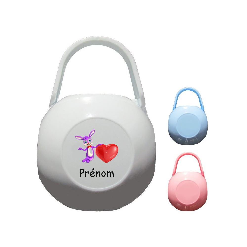 Boîte à tétine personnalisée Lapin coeur Prénom