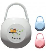 Boîte à tétine personnalisée Chouettes Prénom
