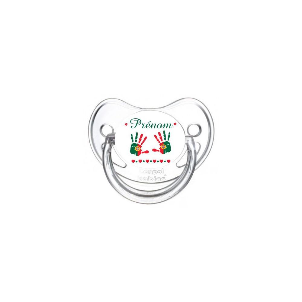Tétine personnalisée drapeau portugal et main de bébé