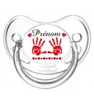 Tétine personnalisée main de bébé Turquie et prénom