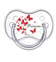 Tétine personnalisée papillons rouge et prénom