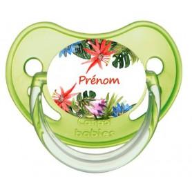 Tétine personnalisée fleurs tropicales et prénom