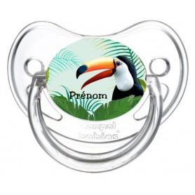 Tétine personnalisée toucan tropical et prénom