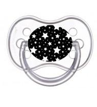 Tétine de bébé étoile blanche sur fond noir