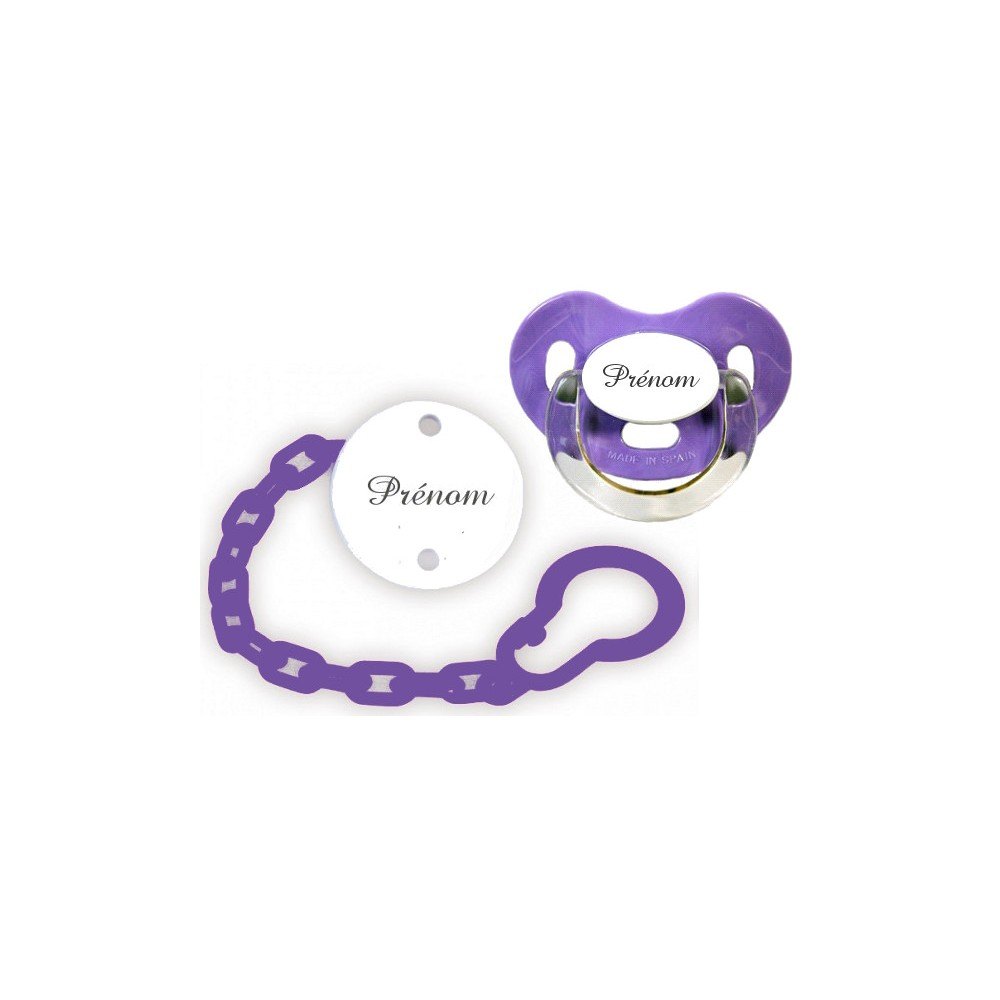 Kit tétine et attache sucette (Charme violet)