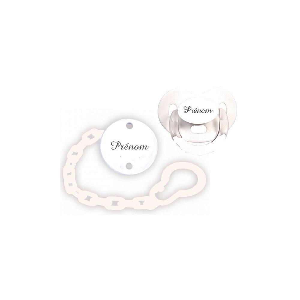 kit t tine et attache sucette charme blanc tetine bebe. Black Bedroom Furniture Sets. Home Design Ideas