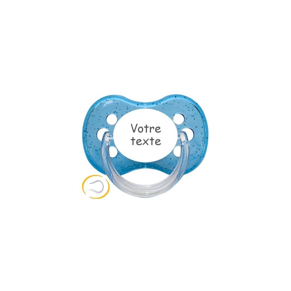 Tétine personnalisée cerise bleu pailletée