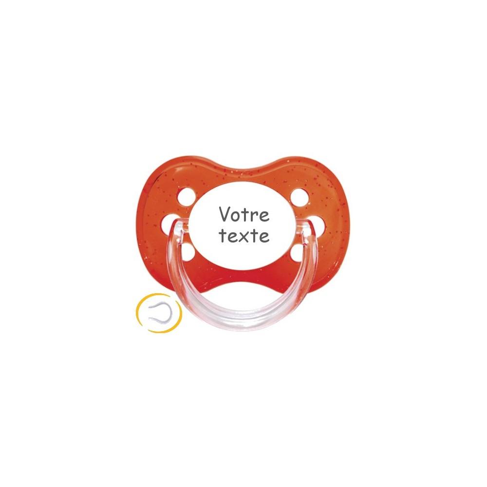 Tétine personnalisée cerise pailletée rouge