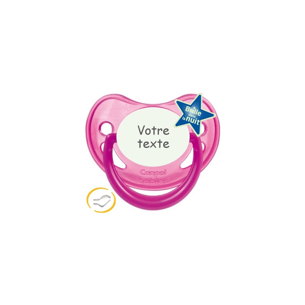 Tétine personnalisée rose fluorescente
