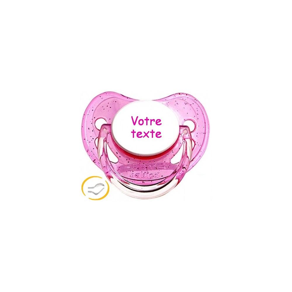 Tétine personnalisée en couleur rose à Paillettes