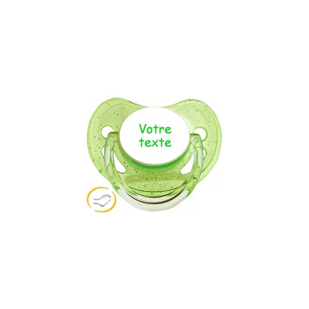 Tétine personnalisée verte à Paillettes