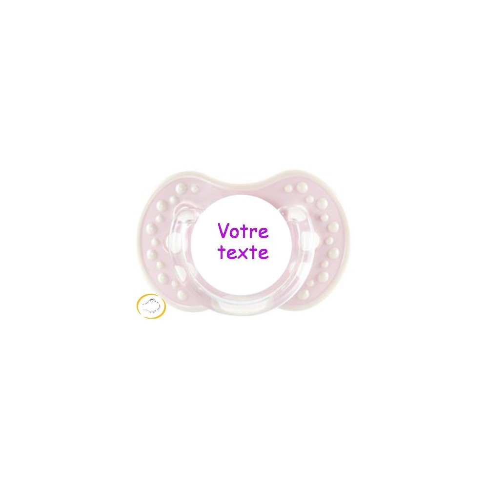 Tétine personnalisée style rose et blanc