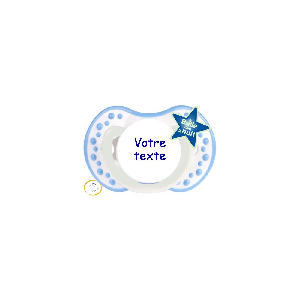 Tétine personnalisée night and day bleu ciel