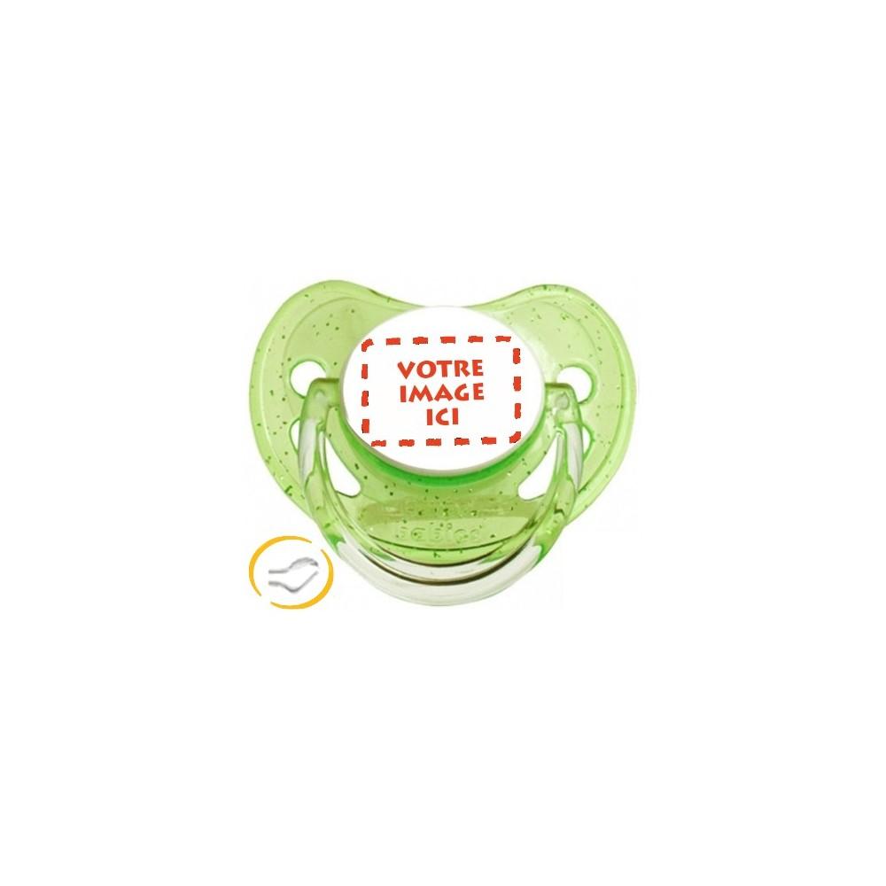 Tétine personnalisée photo à Paillettes vert