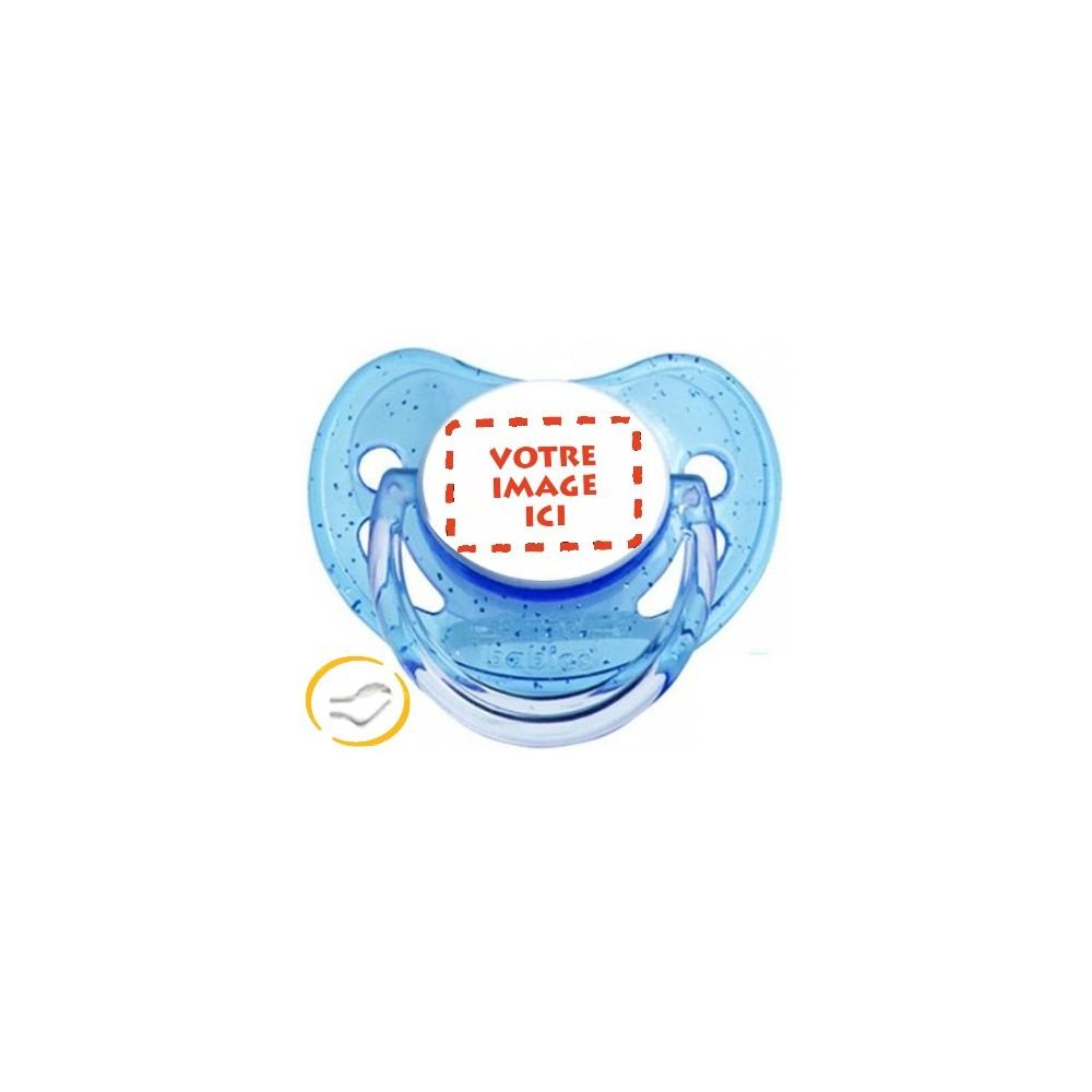 Tétine personnalisée photo à Paillettes bleu