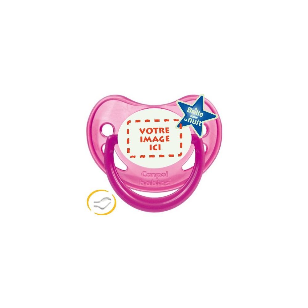 Tétine personnalisée photo Fluo rose