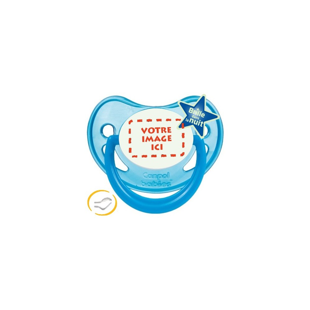 Tétine personnalisée photo Fluo bleu