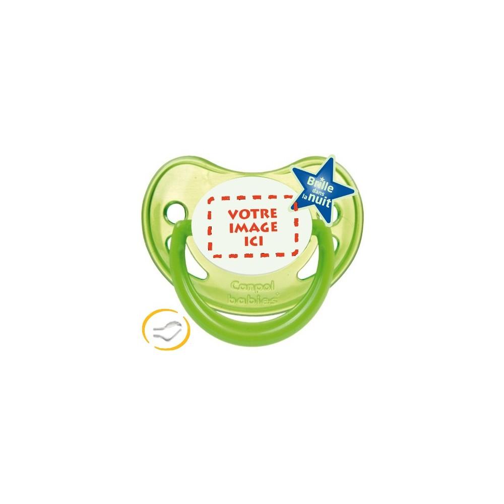 Tétine personnalisée photo Fluo vert