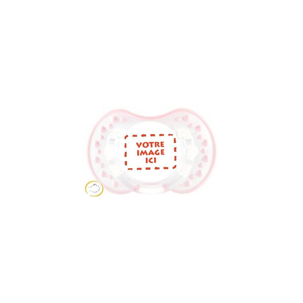 Tétine personnalisée photo Style blanc et rose