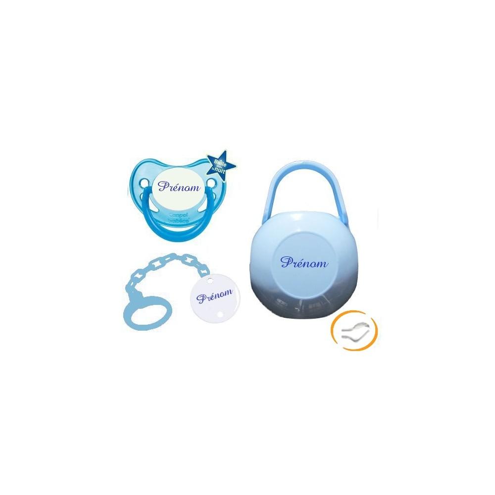 Lot tétine attache et boite (fluorescente bleue)