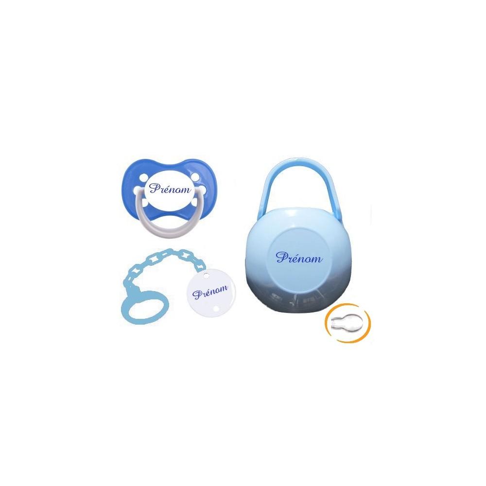 Lot tétine attache et boite (funny bleue)