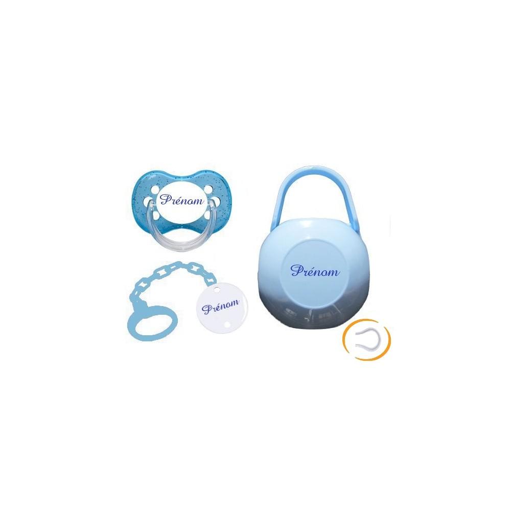Lot tétine attache et boite (cerise bleue)