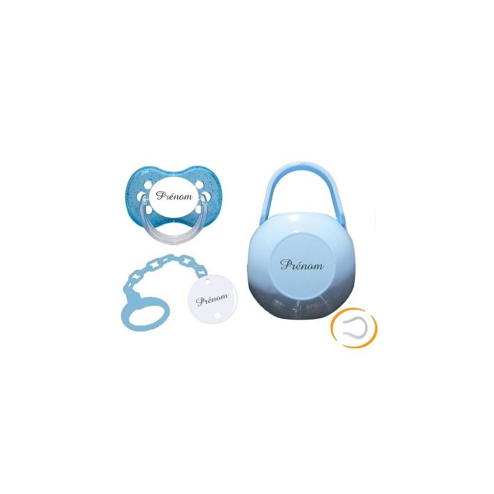 Kit tétine attache et boite (Cerise bleu)