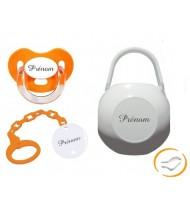 Kit tétine attache et boite (charme orange)