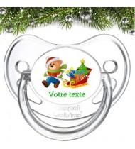 """Tétine bébé personnalisée """"Ours Noël traineau"""""""