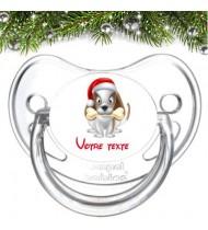 """Tétine bébé personnalisée """"Chien Noël"""""""