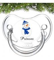 Tétine bébé personnalisée bonhomme de neige bleu