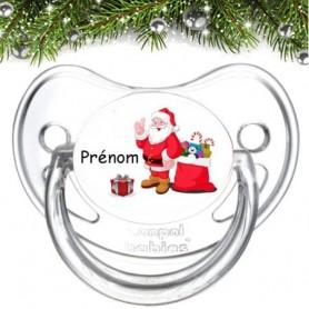 """Tétine bébé personnalisée """"Père Noël et cadeau"""""""