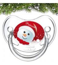 Tétine de bebe bonhomme de neige noël et prénom