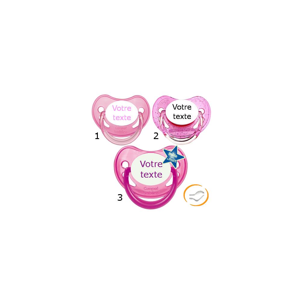 Lot de 3 Tétines personnalisées fille (physiologique) chupa rose / a paillette rose / fluo rose