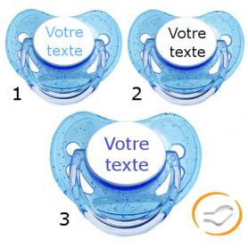 Lot de 3 Tétines personnalisées à paillette bleu (physiologique)