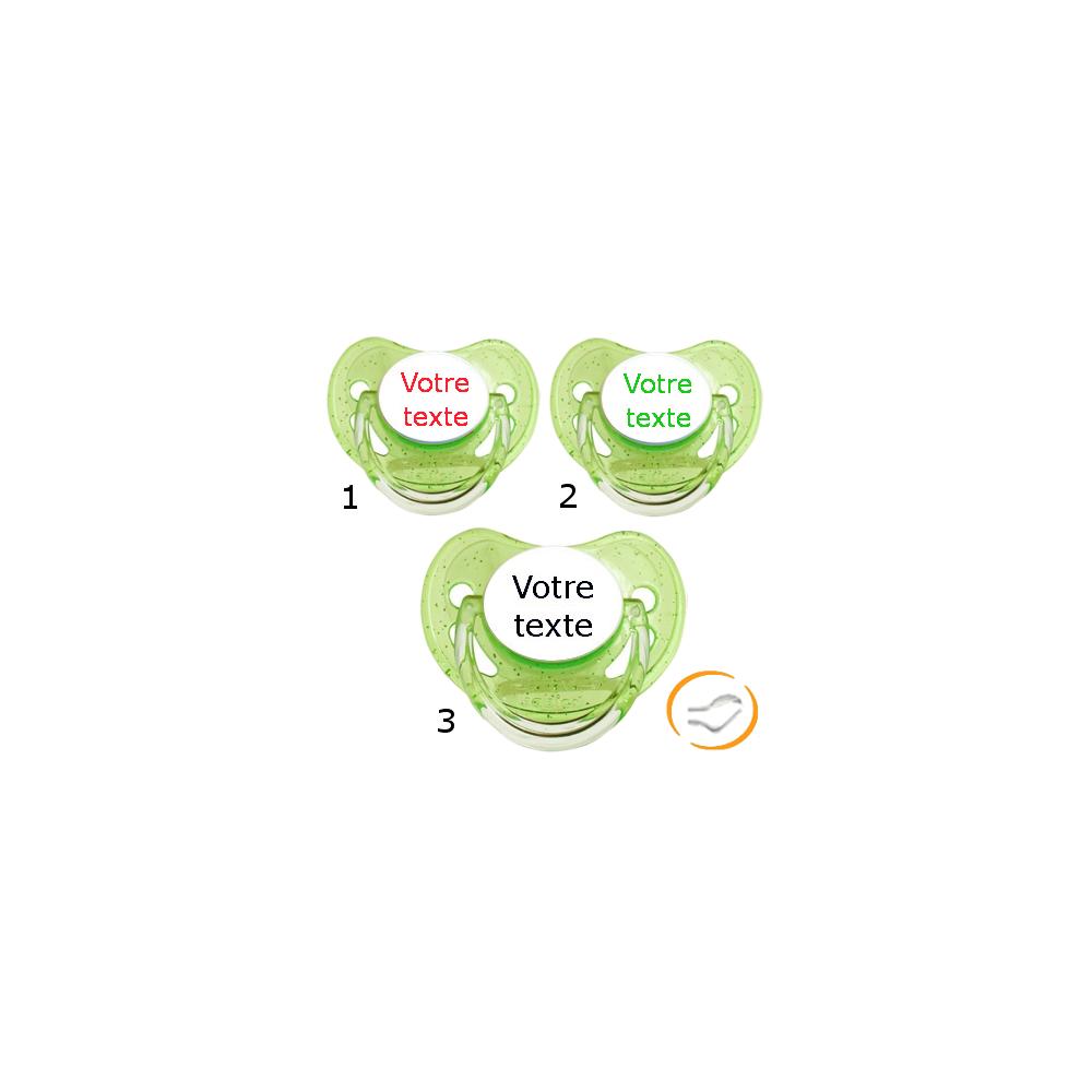 Lot de 3 Tétines personnalisées à paillette verte (physiologique)